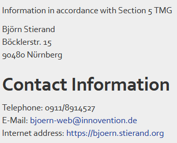 Contact information for bjoern.stierand.org